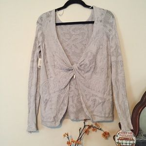NWT Free People Small Long Sleeve gray tied back